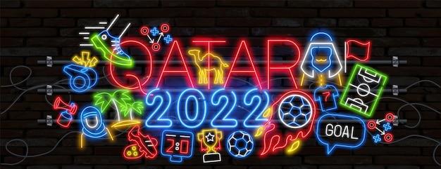 Voetbal pictogrammen instellen voetbal fan attributen neon licht teken vector gloeiend helder pictogram voetbal fan hoed een...