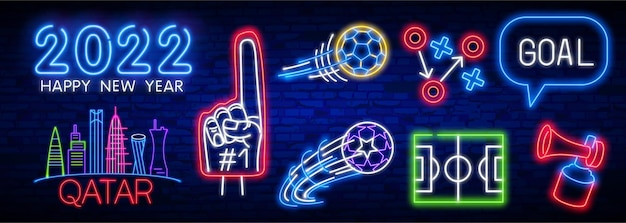 Voetbal pictogrammen instellen voetbal neon teken bal in beweging op bakstenen muur achtergrond voetbal neon teken helder ...