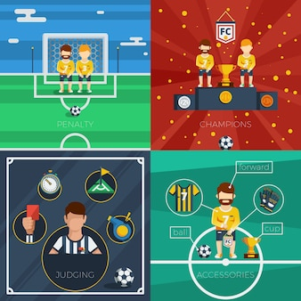 Voetbal plat pictogrammen samenstelling