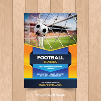 Voetbal poster sjabloon met foto