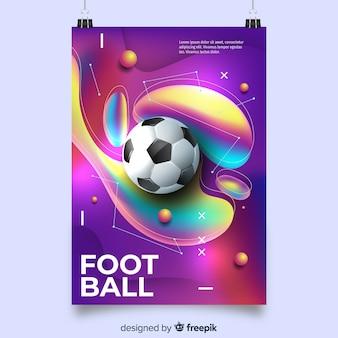 Voetbal poster sjabloon met vloeiende vormen