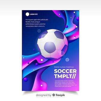 Voetbal poster sjabloon vloeibaar effect