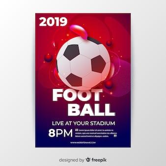 Voetbal poster sjabloon vloeibare vormen