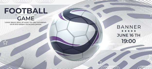 Voetbal poster. voetbalwedstrijdbanner met realistische bal, uitnodigingsflyer voor sportcompetitie