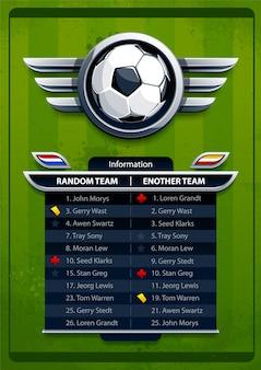 Voetbal resultaten sjabloon