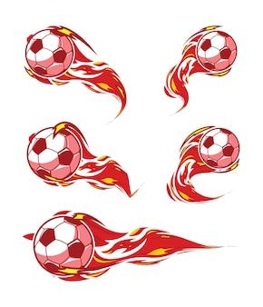 Voetbal rode vuur voetbal symbolen instellen