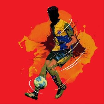 Voetbal schilderij silhouet