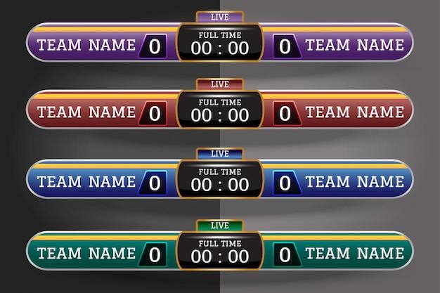Voetbal scorebord digitaal scherm grafische sjabloon