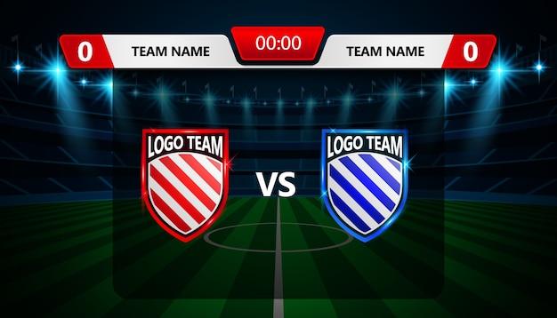 Voetbal scorebord uitzending grafische sjabloon