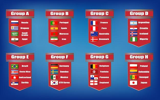 Voetbal scorebord wereldkampioenschap 2018 door groepen