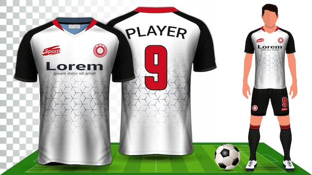 Voetbal shirt, sport shirt of voetbal kit uniforme presentatie.