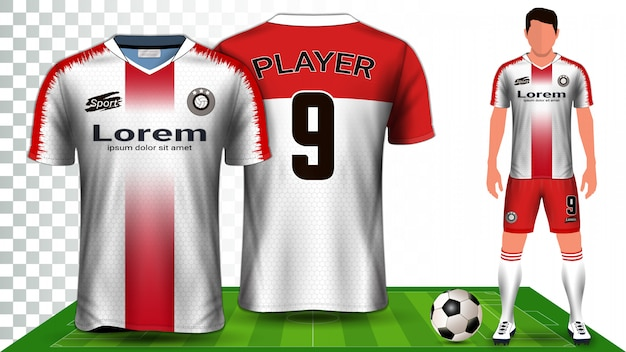 Voetbal shirt, sport shirt of voetbal kit uniforme presentatiesjabloon.