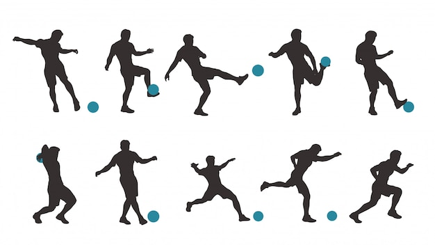 Voetbal silhouet set
