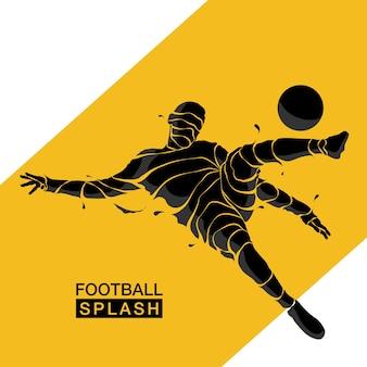 Voetbal splash voetbal silhouet
