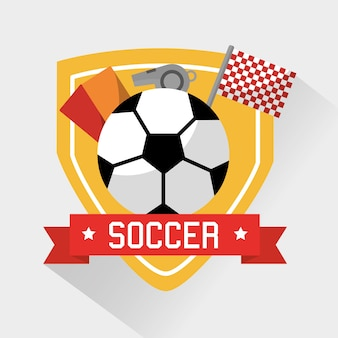 Voetbal sport bal kaarten fluit en vlag