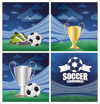 Voetbal sport ballon voetbal met scheidsrechter fluitje en trofee beker