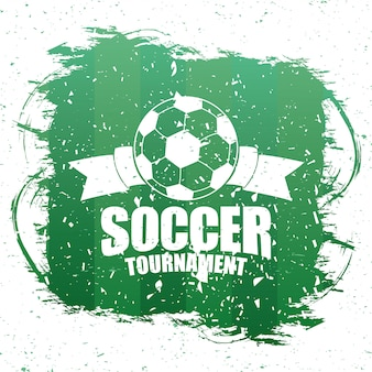 Voetbal sport embleem poster met ballon