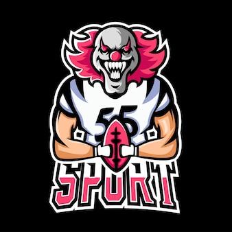 Voetbal sport en esport gaming mascotte logo