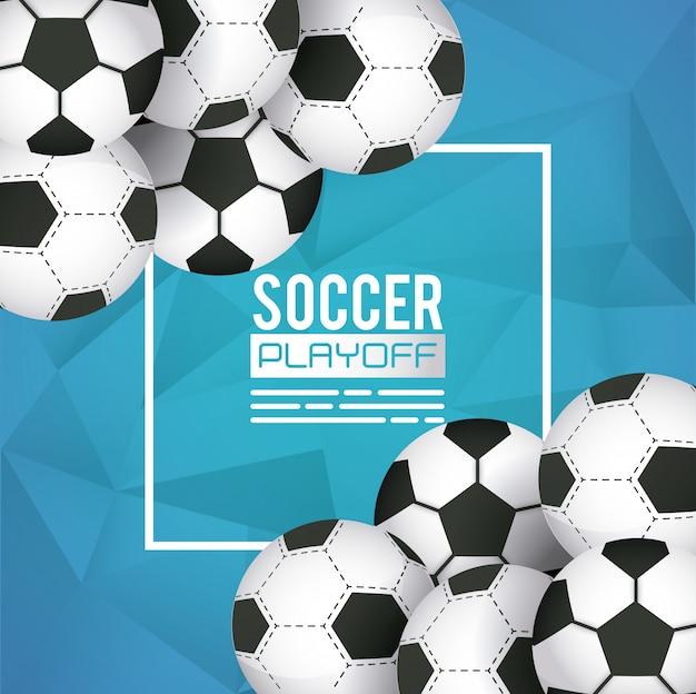 Voetbal sport poster met ballonnen