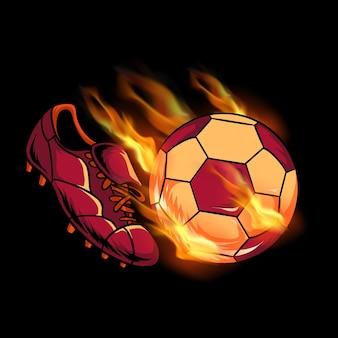 Voetbal sportschoenen doel vuurbal trappen