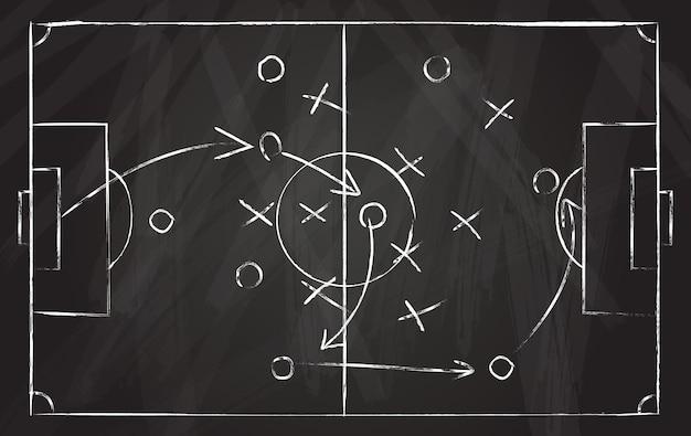 Voetbal tactiek schema. de strategie van het voetbalspel met pijlen op zwart krijtbord. coach aanvalsplan voor spelen op veld bovenaanzicht vector concept. illustratie spellijn aanval, voetbal instructie