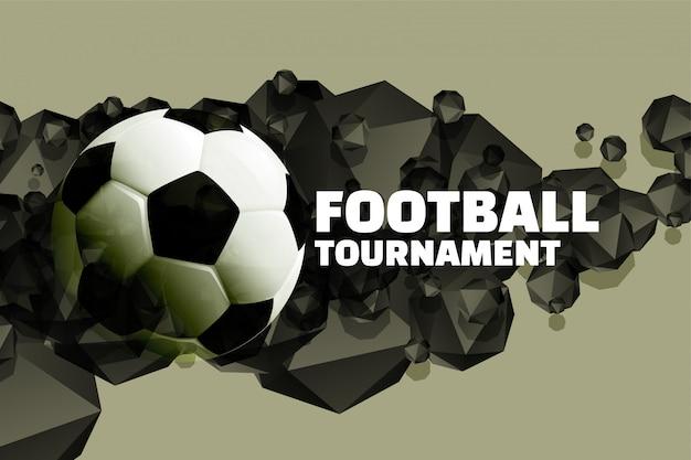 Voetbal toernooi achtergrond met abstracte 3d vormen