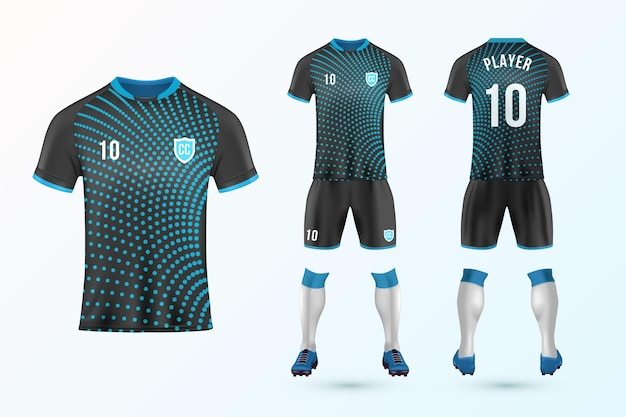 Voetbal uniforme sjabloon set