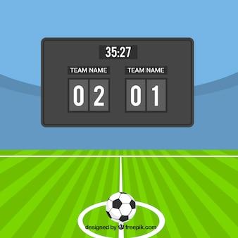 Voetbal veld achtergrond met scorebord