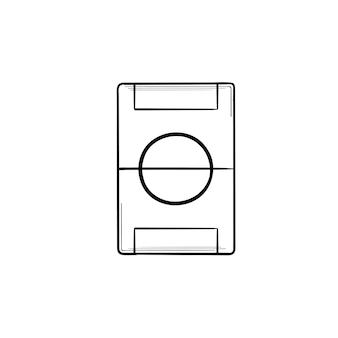 Voetbal veld hand getrokken schets doodle pictogram. voetbalstadion, voetbalveld, speeltuin en arenaconcept