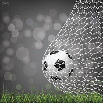 Voetbal voetbal bal in doel.