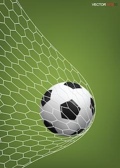 Voetbal voetbal bal in voetbaldoel.