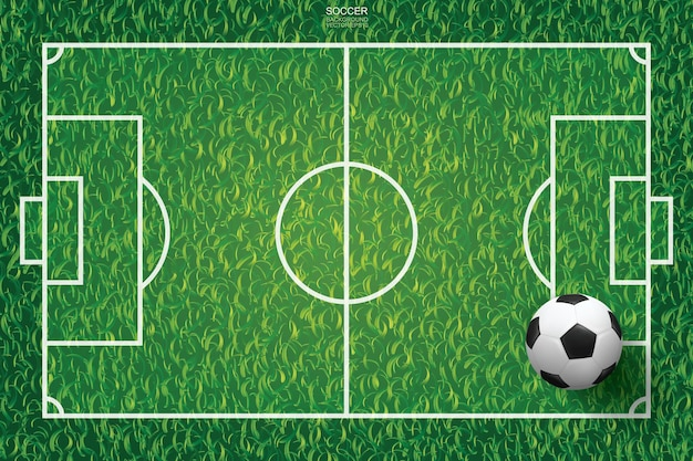 Voetbal voetbal bal op groen gras van voetbal veld patroon en textuur achtergrond. vector illustratie.