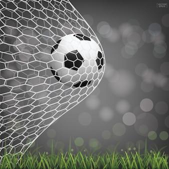 Voetbal voetbal bal op groen grasveld met licht wazig bokeh achtergrond. vector illustratie.