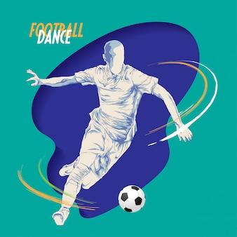 Voetbal voetbal dans schets stijl