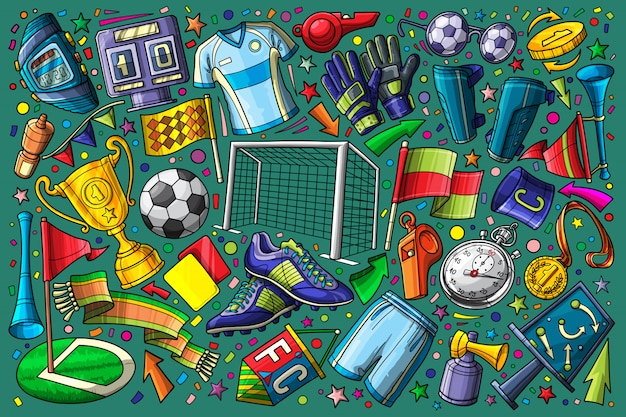 Voetbal, voetbal doodle set vectorillustratie