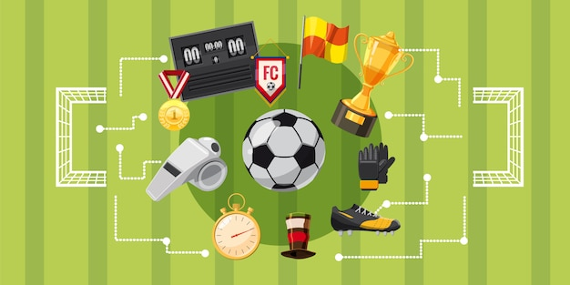 Voetbal voetbal horizontale achtergrond