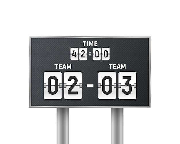 Voetbal, voetbal mechanisch scorebord dat op wit wordt geïsoleerd