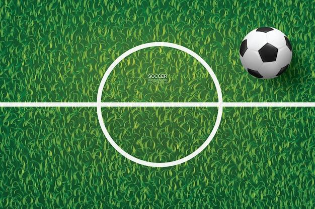 Voetbal voetbal op groen gras van voetbalveld met middellijn gebied. vector illustratie.