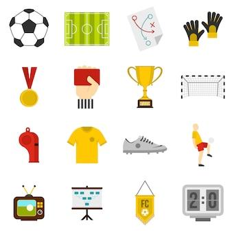 Voetbal voetbal pictogrammen instellen in vlakke stijl