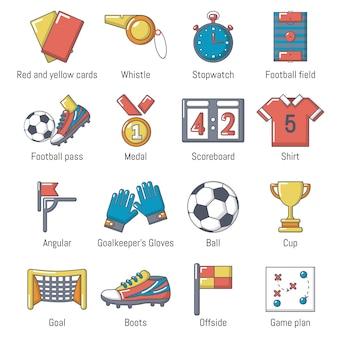 Voetbal voetbal pictogrammen instellen