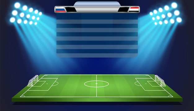 Voetbal voetbal stadion veld met scorebord.