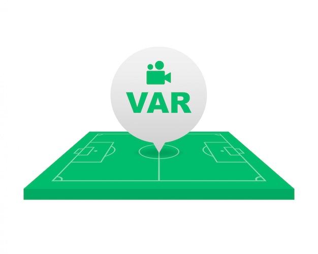 Voetbal, voetbal var-systeem op het tv-scherm.