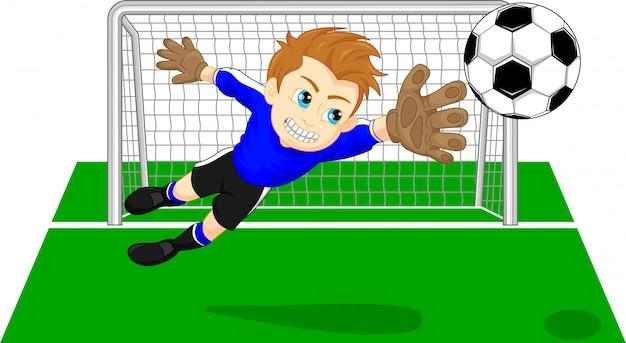Voetbal voetbaldoelbewaarder die een doel bewaart