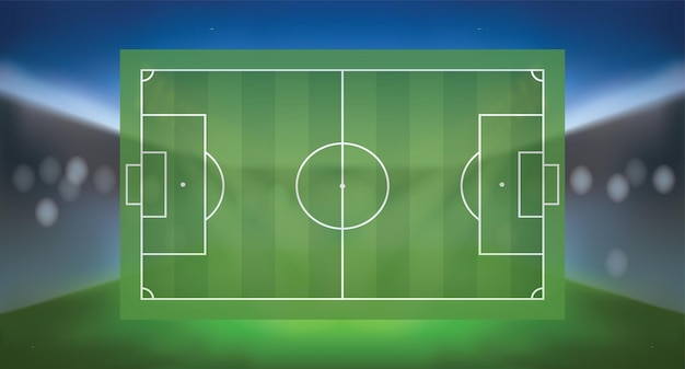 Voetbal voetbalveld met licht wazige achtergrond van sportstadion. vector illustratie.
