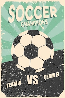Voetbal voetbalwedstrijd vintage poster