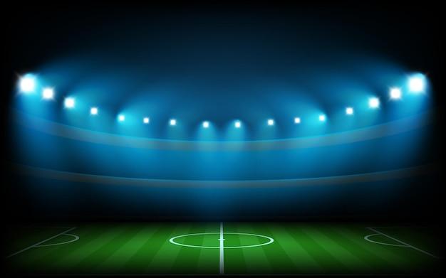 Voetbalarena verlicht met spotlichten