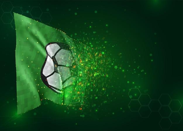 Voetbalbal, 3d vlag op groene achtergrond met veelhoeken