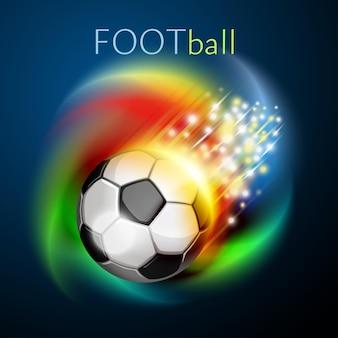 Voetbalbal die over regenboog vliegt