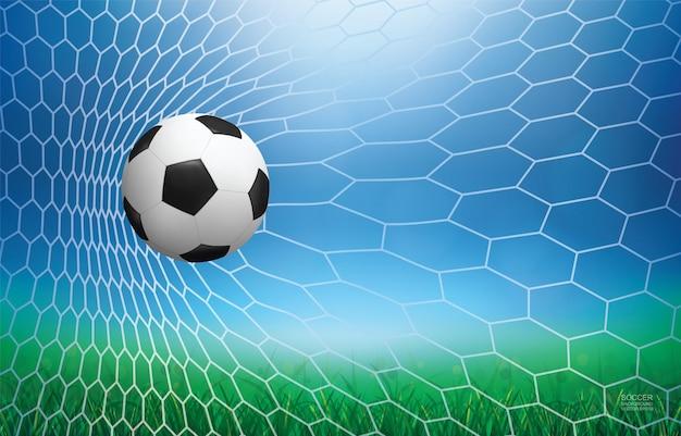 Voetbalbal in doel. voetbalbal en wit net met licht vage bokehachtergrond. vector illustratie.