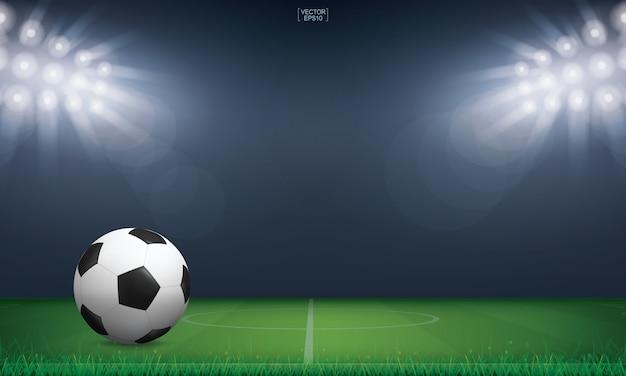 Voetbalbal in voetbalveldstadion.